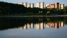 School Lake in sunset light in Zelenograd district of Moscow, Russia stock video footage
