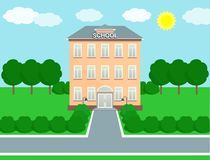 School landscape, schoolhouse. Vector illustration. School building over landscape background. Vector illustration Royalty Free Stock Image