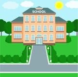 School landscape, schoolhouse. Vector illustration. School building over landscape background. Vector illustration Stock Images