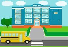 School landscape, schoolhouse, schoolbus. Vector illustration. School building over landscape background with schoolbus. Vector illustration Royalty Free Stock Image