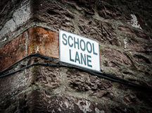 School Lane Sign Stock Images