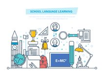 School language learning. Language school training, study foreign language abroad. School language learning concept. Language school training program, study Royalty Free Stock Photos