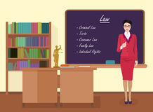 School Law female teacher in audience class concept. Vector illustration. Stock Photos