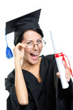 School leaver in glasses with the diploma. Graduating student in glasses with the diploma adjusts the glasses, isolated on white stock photo