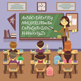 School lesson in classroom with child, pupils and teachers. Vector flat illustration Stock Photo