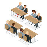 School lesson. Little students. Isometric Classroom. Flat style cartoon illustration. Stock Photo