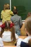 At a school lesson of mathematics Royalty Free Stock Images