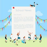 School Letter Template Isometric Stock Images