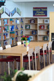 School library. With tables, books and chairs Stock Photo