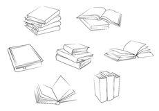 School and library books set Stock Image