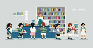 School library. Children borrow books from librarians in school libraries Royalty Free Stock Photo