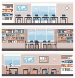 School and library interiors. With furnishing and equipment: education and learning concept Royalty Free Stock Photography