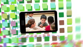 School life on a smartphone screen Stock Image