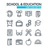 School line icons set. Education and school icons Stock Photos