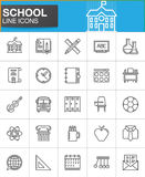 School line icons set, outline vector symbol collection Royalty Free Stock Images