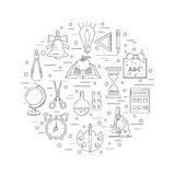 School linear icons arranged in a circle. The items include a learning process in an educational institution Stock Image