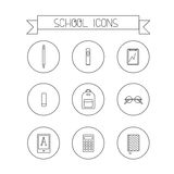 School linear icons. This is perfect linear design icon of school topic.All you need for back to school bagpack,  notebooks, pens, pencil,reader. School icons is Royalty Free Stock Photos