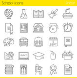 School linear icons set Royalty Free Stock Photos