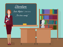 School Literature female teacher in audience class concept. Vector illustration. Royalty Free Stock Photography