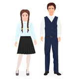School little kids boy and girl together in formal clothes for school. vector illustration
