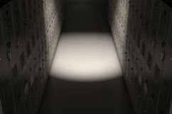School Locker Corridor. A direct top view of a row of regular school lockers in a corridor dramatically lit by a single spotlight stock images