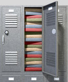 School Locker Crammed Books. A perspective view of a stack of grey metal school lockers with combination locks and one with an open door crammed full of a pile royalty free stock image
