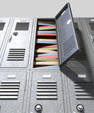 School Locker Crammed Books. A perspective view of a stack of grey metal school lockers with combination locks and one with an open door crammed full of a pile stock image