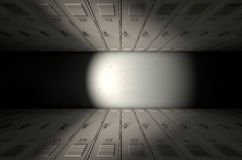 School Locker Row New. A direct top view of a row of regular school lockers in a corridor stock photography