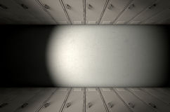 School Locker Row New. A direct top view of a row of regular school lockers in a corridor royalty free stock photos