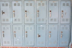 School lockers. A row of school lockers in desperate need of repair Royalty Free Stock Photo