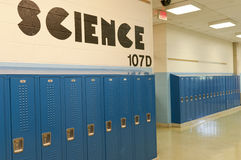 School lockers. A row of student school lockers in the hallway of the science section at a middle school or high school Stock Images
