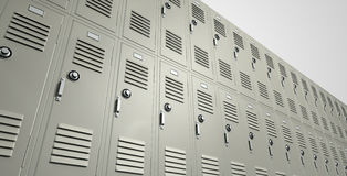 School Lockers Perspective. A perspective view of a stack of metal school lockers with combination locks and doors shut on an isolated background stock photo