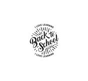 School logo vector. Monochrome vintage style design educational learning sign. Back to school, university, college retro Royalty Free Stock Photo