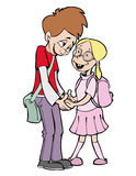 School love. Shy boy and shy girl in the school Royalty Free Stock Image