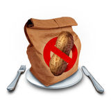 School Lunch Allergy. Concept as a brown bag with a peanut free icon as a food health risk and department of education menu policy as an allergic student safety Stock Image