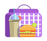 School lunch with big hamburger and cup of sweet soda Royalty Free Stock Image