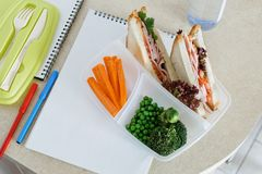 School lunch lunchbox bottle water notepad copy space top view. School lunch at lunch box with bottle water and notepad with copy space in home kitchen, top view Royalty Free Stock Photo