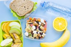 School lunch box. Bread, orange, bottle of water, baby corns, carrot and tomatoes in green plastic container. Top view, blue background stock photography