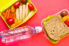 School lunch box. Bread, orange, bottle of water, baby corns, carrot and tomatoes in green plastic container. Top view, red background stock photography