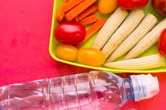 School lunch box. Bread, orange, bottle of water, baby corns, carrot and tomatoes in green plastic container. Top view, red background stock photo