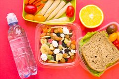 School lunch box. Bread, orange, bottle of water, baby corns, carrot and tomatoes in green plastic container. Top view, red background royalty free stock photos