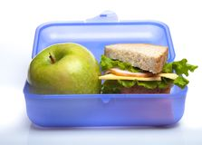School Lunch Box. Lunch healthy eating homemade sandwich food isolated on white lunch box royalty free stock photo