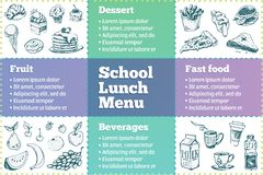 School lunch box menu template. Sketches of food royalty free illustration