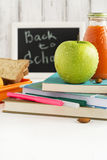 School lunch box with sandwich, fruits and nuts Stock Image
