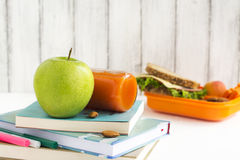 School lunch box with sandwich, fruits and nuts Royalty Free Stock Photography
