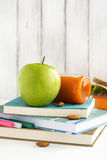 School lunch box with sandwich, fruits and nuts Royalty Free Stock Photo