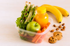 School lunch box with sandwich. School lunch box with sandwich, selective focus Royalty Free Stock Images