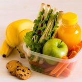 School lunch box with sandwich. School lunch box with sandwich, selective focus Stock Photos