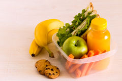 School lunch box with sandwich. School lunch box with sandwich, selective focus Stock Photography