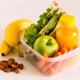 School lunch box with sandwich. School lunch box with sandwich, selective focus Royalty Free Stock Image